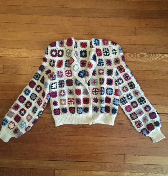 Late 70's Wool Afghan Style Crocheted Wool Croppe… - image 10
