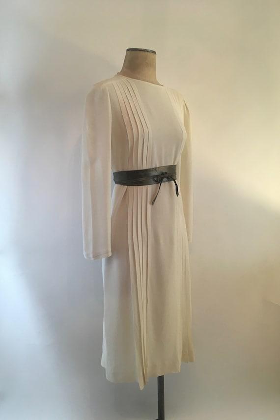 80s Elegant Soft Cream Rayon Crepe Pleated Dress/N