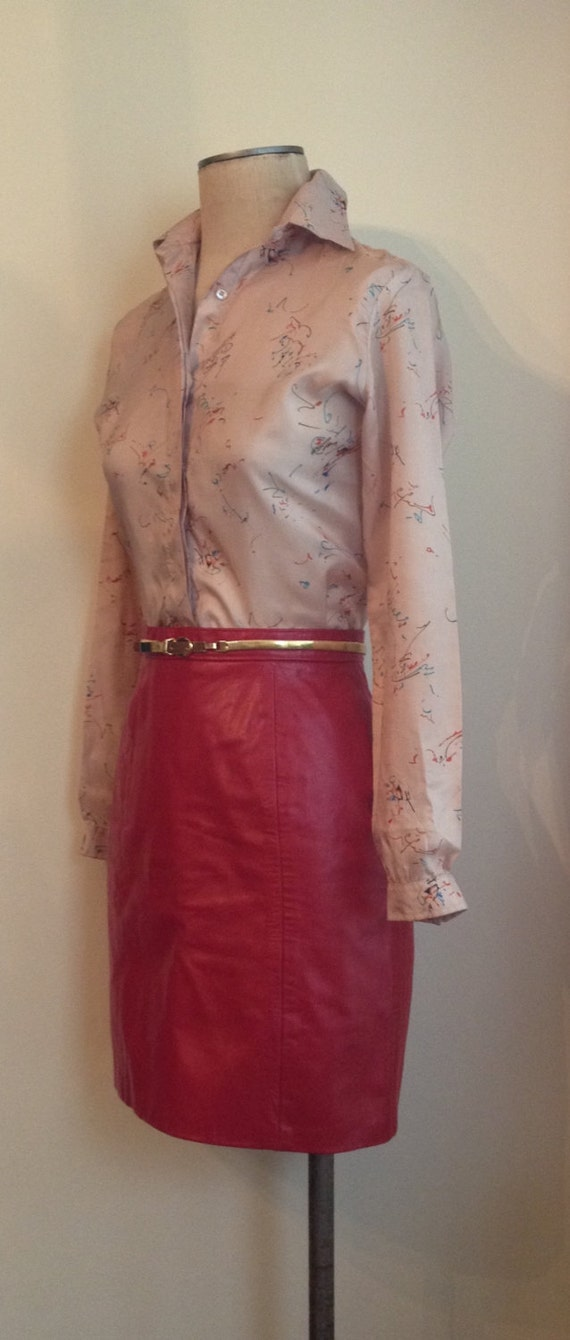Sassy Vintage 1980s Red Leather Mini Skirt/80s/80'