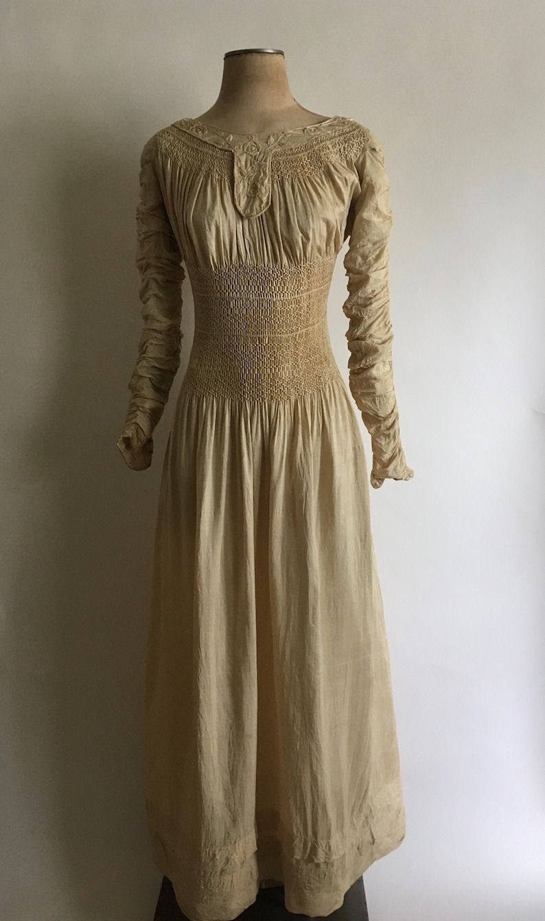 19th Century Liberty of London Silk Embroidered Smocked Dress image 0