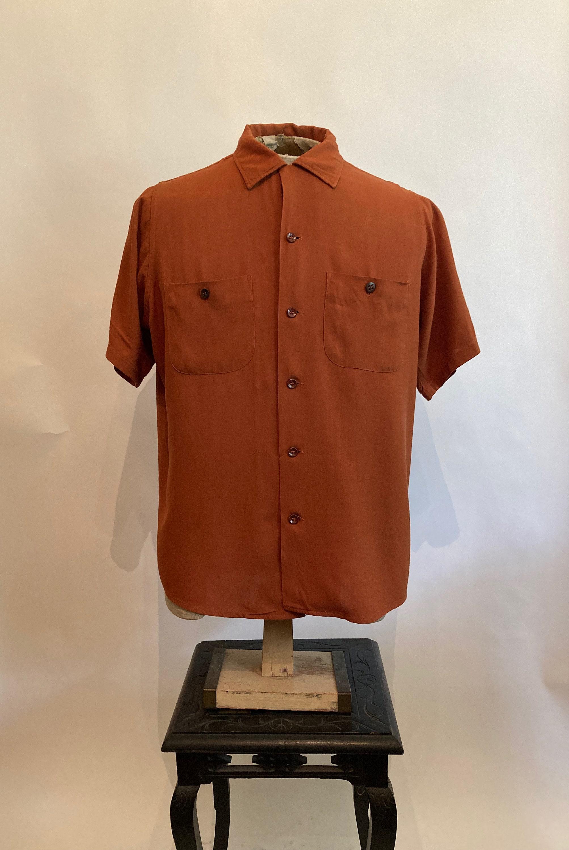 1940s Men's Shirts, Sweaters, Vests 1940S40Sten Strike By King Louie Mens Copper Rayon Gabardine Short Sleeve Bowling Shirt40S Shirt $25.00 AT vintagedancer.com