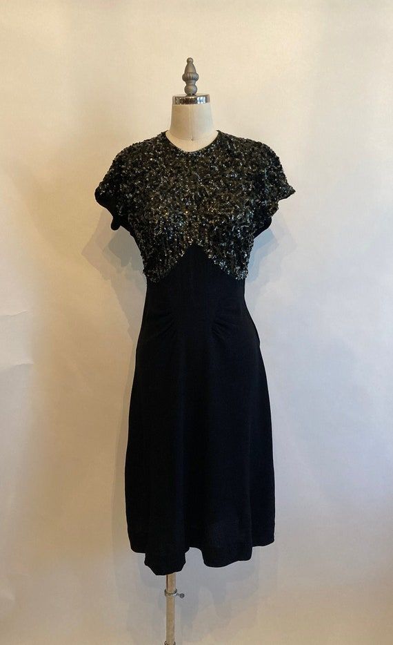 1940s Black Rayon Crepe Dress with Sequins