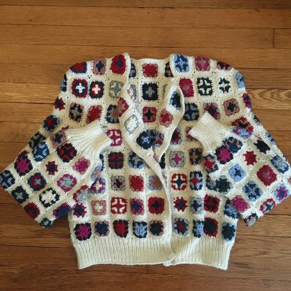Late 70's Wool Afghan Style Crocheted Wool Croppe… - image 9