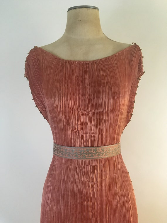 1910-1920 Mariano Fortuny Salmon Pink Delphos Gow… - image 6