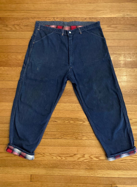 1950s Mens Cotton Plaid Flannel Lined Denim Jeans