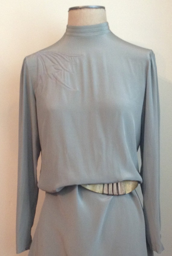 80s Sophisticated Grey Silk Sheath Dress with Appl