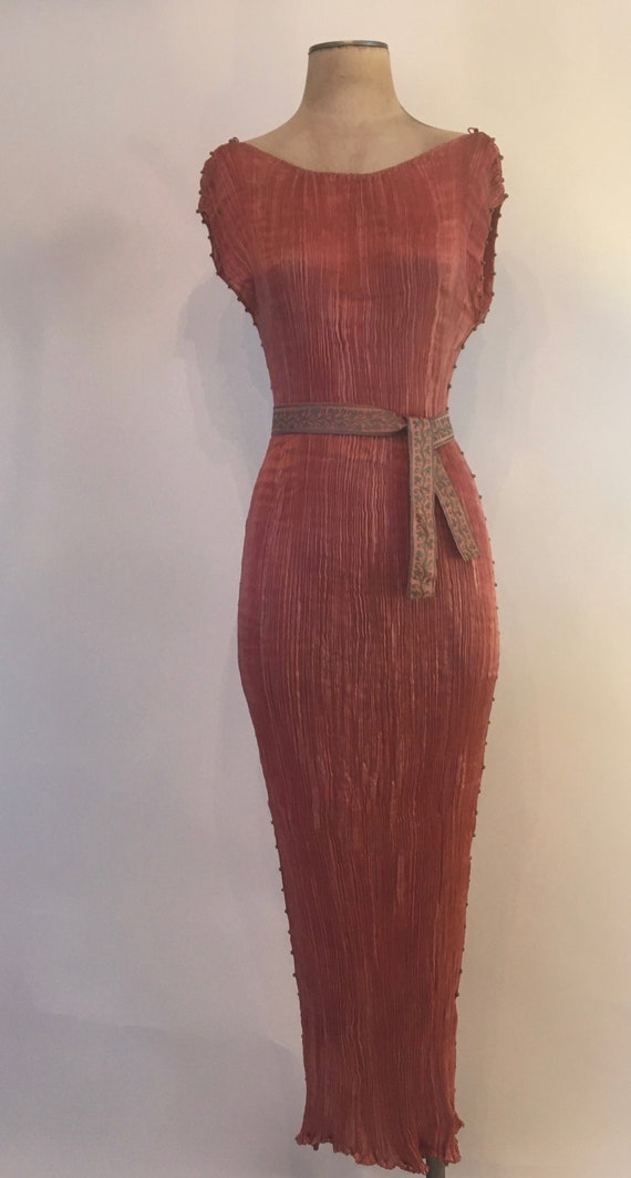 1910-1920 Mariano Fortuny Salmon Pink Delphos Gow… - image 2