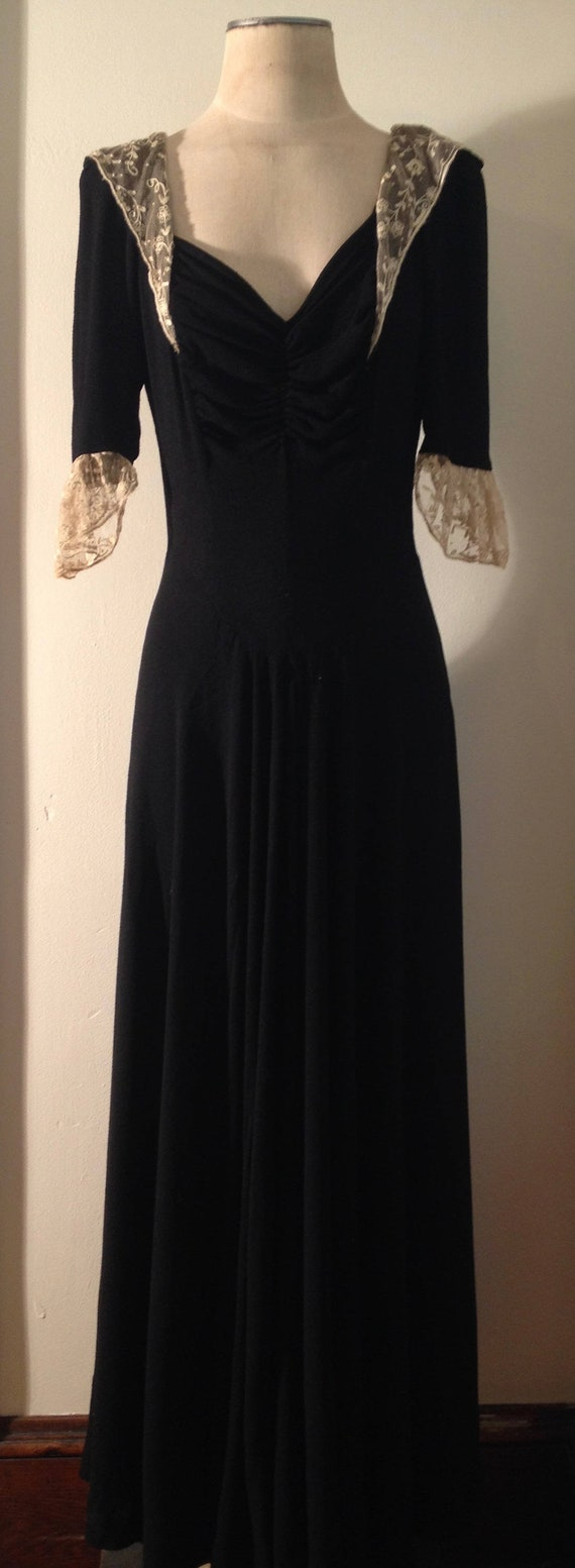 40's Black Rayon Crepe Full Length Dress with Crea