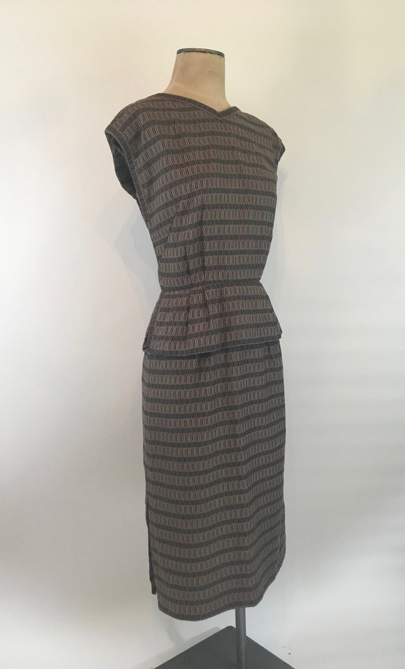 40s Cotton Striped Peplum Dress/40s Day Dress/The