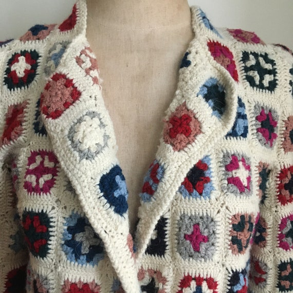 Late 70's Wool Afghan Style Crocheted Wool Croppe… - image 4