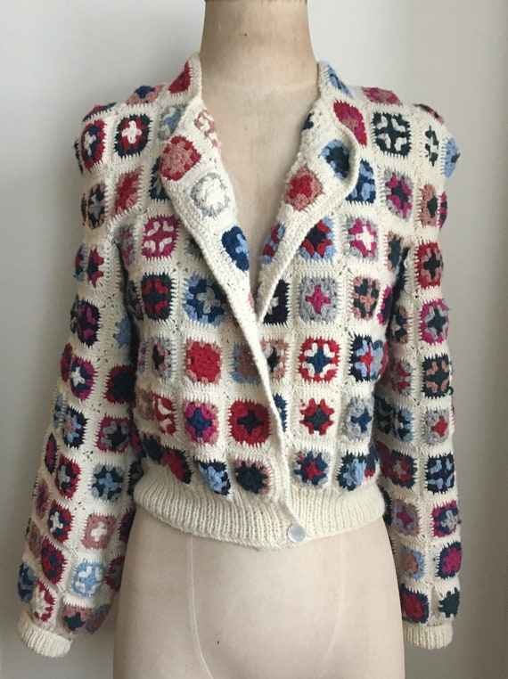 Late 70's Wool Afghan Style Crocheted Wool Croppe… - image 2