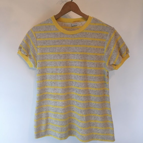 Rare Mens 60's Catalina Yellow/Grey Striped Cotton