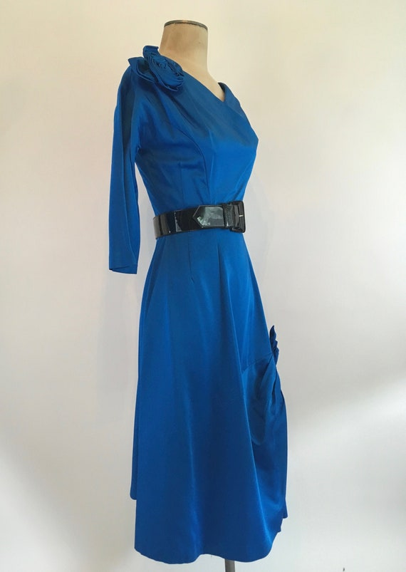 50s Cobalt Blue Satin Cocktail Dress with Roses/Vi