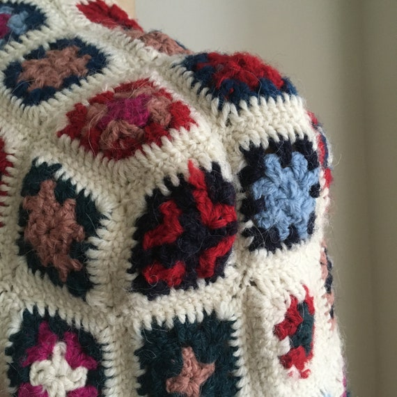 Late 70's Wool Afghan Style Crocheted Wool Croppe… - image 7