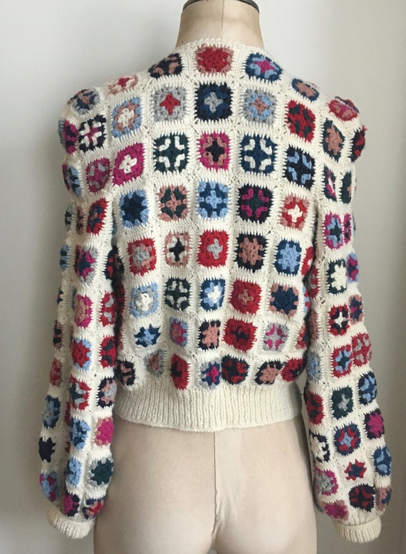 Late 70's Wool Afghan Style Crocheted Wool Croppe… - image 3