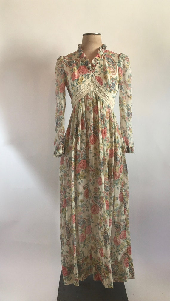 70s Sheer Floral Maxi Dress with Empire Waist, Puf