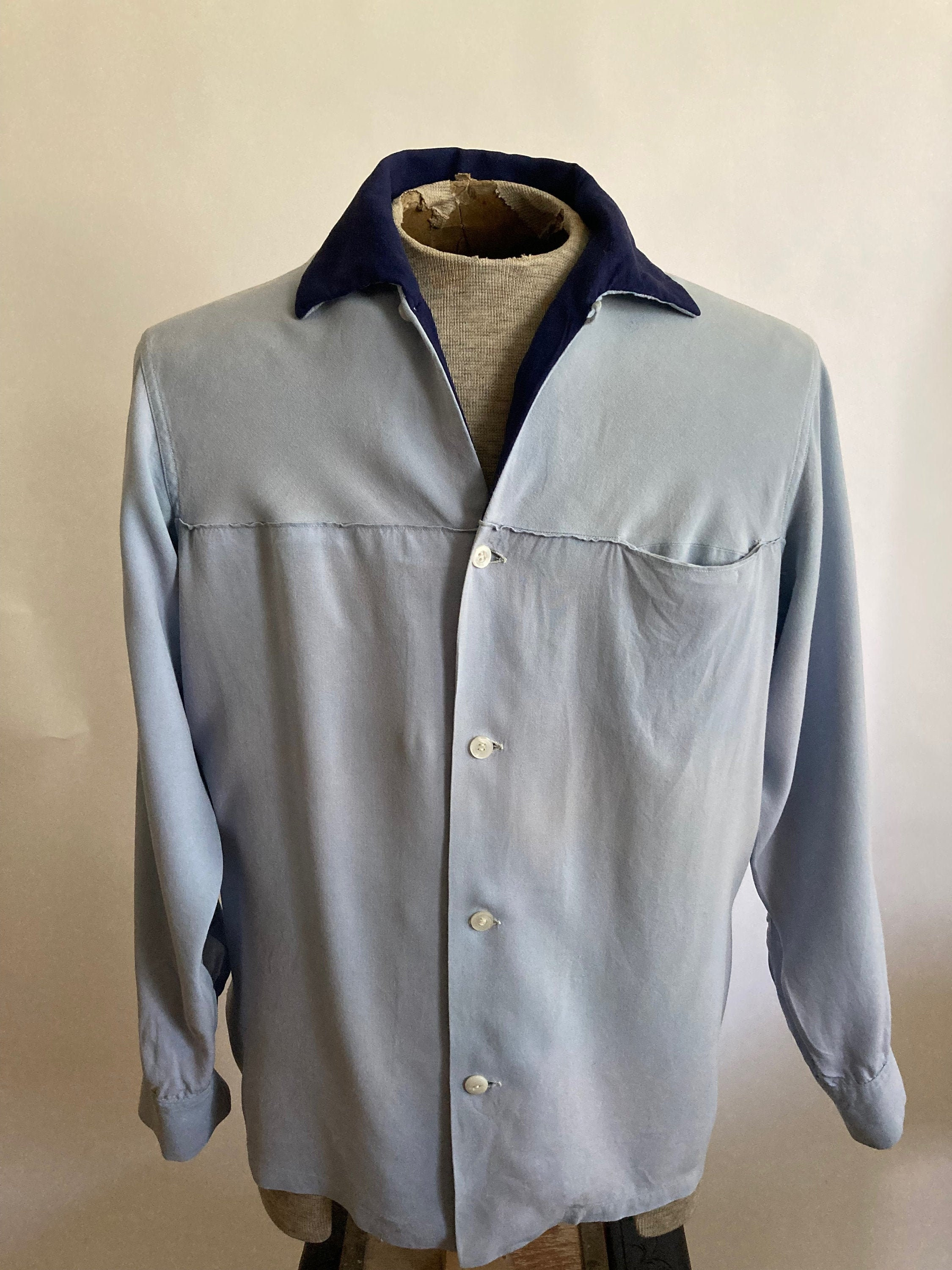 1940s Men's Shirts, Sweaters, Vests 1940S40S ContinentalLane Surreigh Mens Light Blue Rayon Gabardine Long Sleeve Shirt With Navy Collar40S $25.00 AT vintagedancer.com
