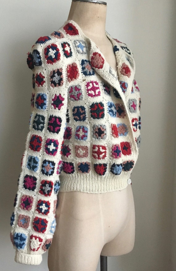 Late 70's Wool Afghan Style Crocheted Wool Croppe… - image 1