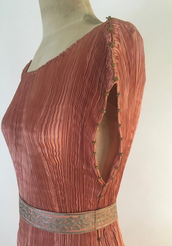 1910-1920 Mariano Fortuny Salmon Pink Delphos Gow… - image 7