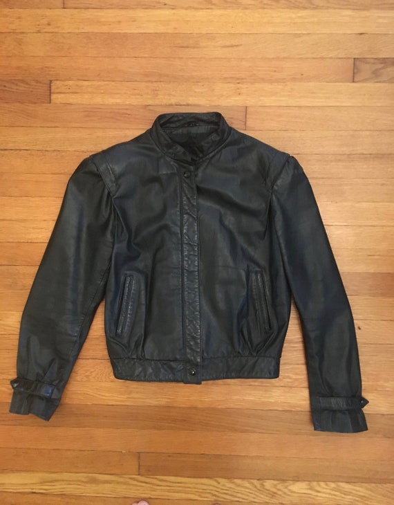 1980s /80sCropped Black Leather Jacket