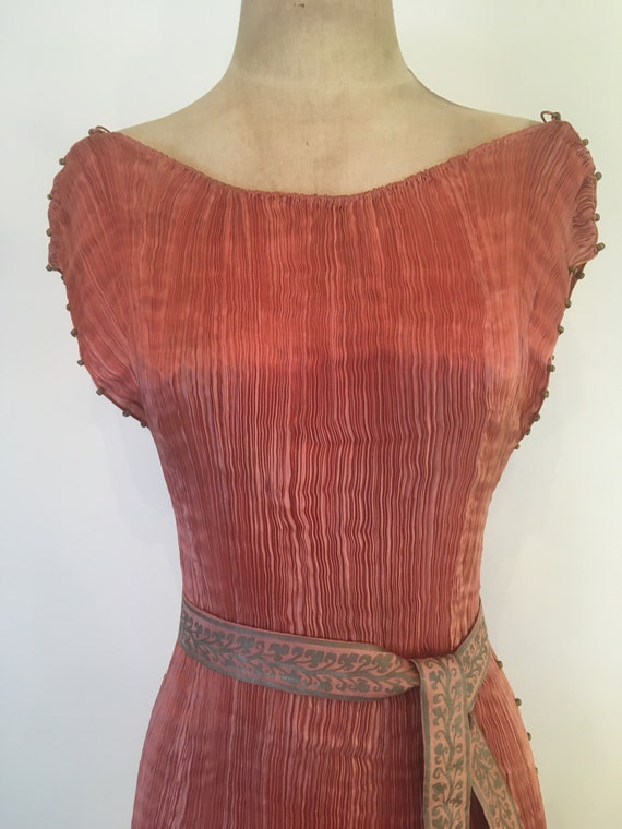 1910-1920 Mariano Fortuny Salmon Pink Delphos Gow… - image 5