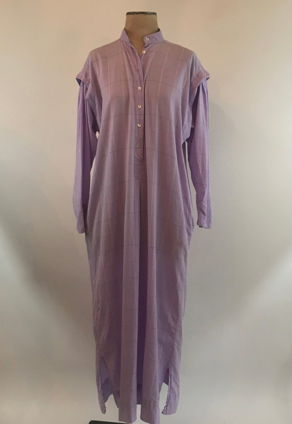 1970's Lavender Plaid Cotton Sultana by Adini Shir