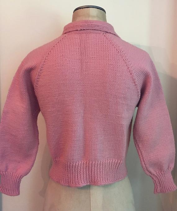1950's Blush Pink Wool Knit Zip-Up Cropped Hand K… - image 4