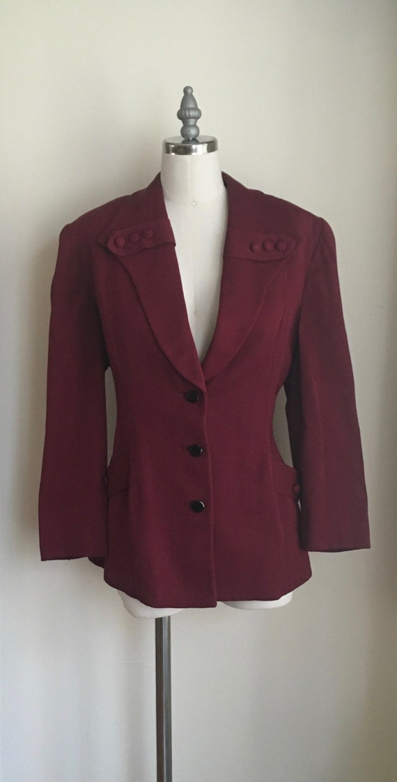 1940s Burgundy Wool Gabardine Jacket/RW
