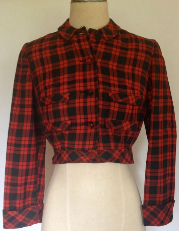 1950's Cropped Red & Black Plaid Wool Button Down