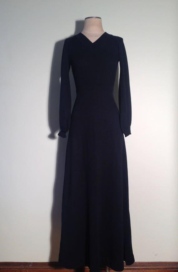 1970's Roncelli Black Wool Blend Knit V-Neck Full