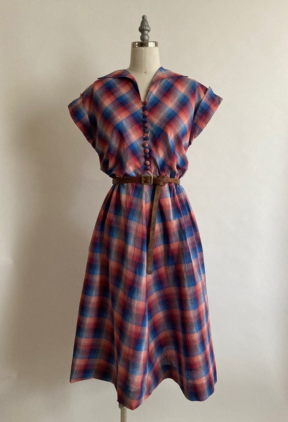 1940s Youthful Mother Plaid Cotton Maternity Dress