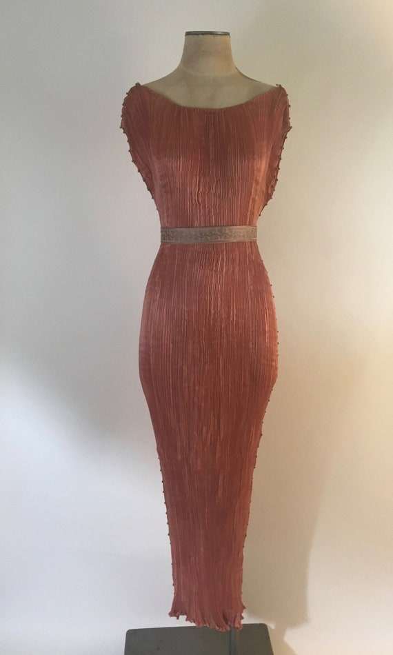 1910-1920 Mariano Fortuny Salmon Pink Delphos Gown