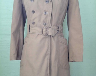 Vintage 1970's Fitted Light Rust Skat Double Breasted Trench Coat