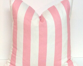 Pink and White Striped Pillow Cover, Decorative Pillow, Pillowcase