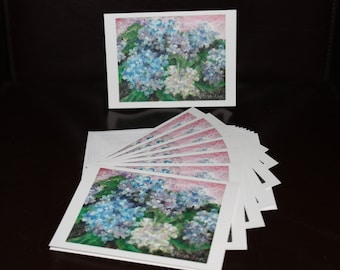 Cards - Mixed Color Hydrangeas - Pack of 8 with Envelopes, Story Insert, and Plastic Sleeve