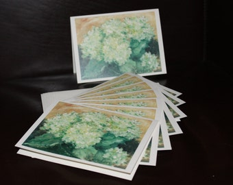 Cards - Green Hydrangeas  - Pack of 8 with Envelopes, Story Insert, and Plastic Sleeve
