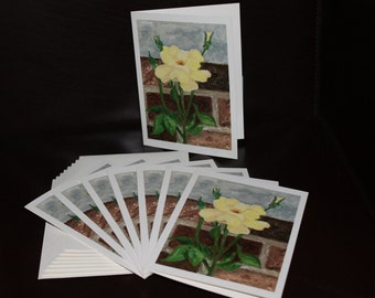 Cards - Yellow Garden Rose - Pack of 8 with Envelopes, Story Insert, and Plastic Sleeve