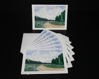 Cards - Landscape with Curving Road - Pack of 8 with Envelopes, Story Insert, and Plastic Sleeve