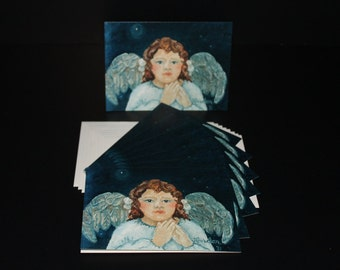 Cards - Bust of Angel with Brown Hair - Pack of 8 with Envelopes, Story Insert, and Plastic Sleeve