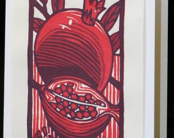 Hand pulled, woodblock printed greeting card, 'Pomegranate'.