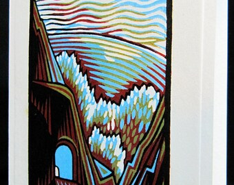 Hand pulled, woodblock printed greeting card, 'Tunnel'.
