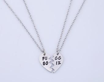 Fucc Boiz - 2-piece Heart Shaped Best Friends Necklace