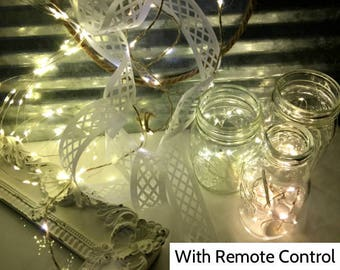 Remote Controlled Fairy Lights for Home Decor! 100 Lights, 16.5-ft (5m) strand.  Battery-operated or plug-in string lights w/ remote control