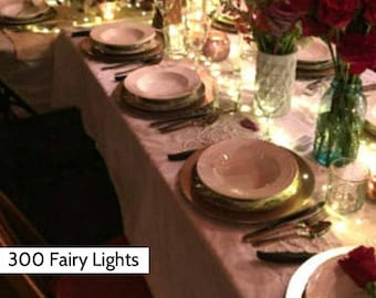 33 or 49 ft, 200 or 300 Fairy Lights for Weddings & Events. Battery-powered, plug-in, or solar powered. Wedding Aisle Runners Fairy Lights.