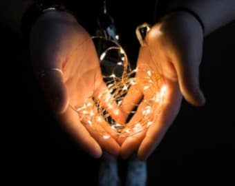 100 Fairy Lights on a copper wire strand. 16.5-foot long Choose battery-operated, solar, or plug-in with a timer.