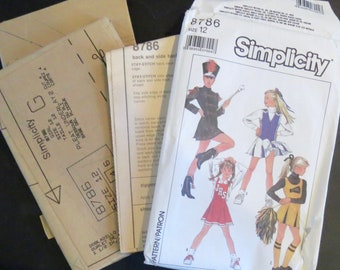 923e08136691 Cheerleader Costume, Sewing Pattern, Vintage, Majorette, Girls, Size 12,  Simplicity 8786, 1994, 26 pcs, Pattern, Instructions, Envelope