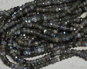 9mm rondelle faceted Labradorite, 2mm large hole bead
