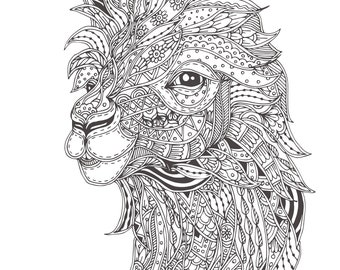 Llama adult coloring page proceeds to charity