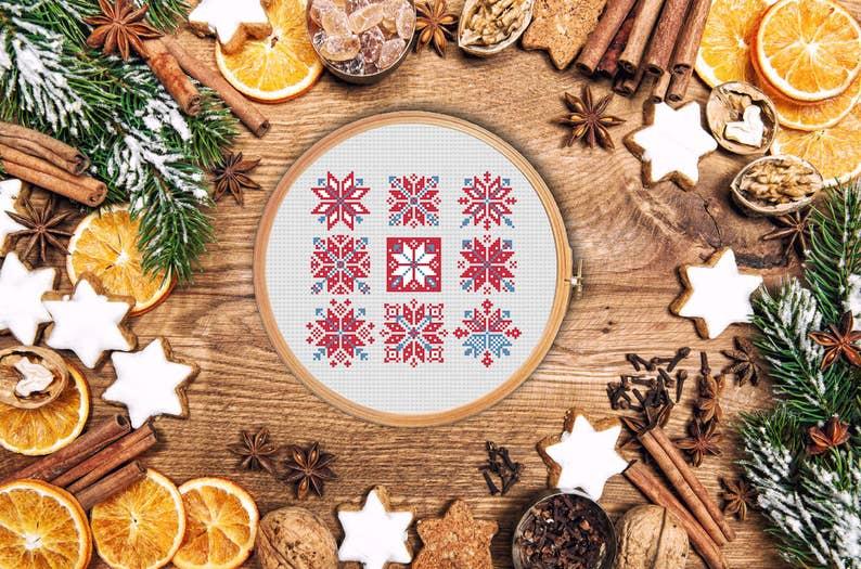 nordic ornament merry christmas design decoration scandinavian nordic ornament aztec modern cross stitch pattern Snowflakes and arrows
