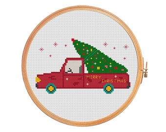Christmas tree on the car - cross stitch pattern - merry christmas decoration green tree red car Santa Claus sleigh